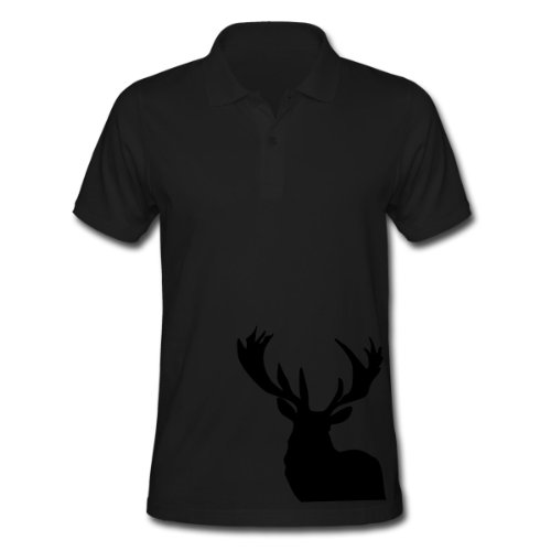 Spreadshirt, Stag outline, Men's Polo Shirt, black, M