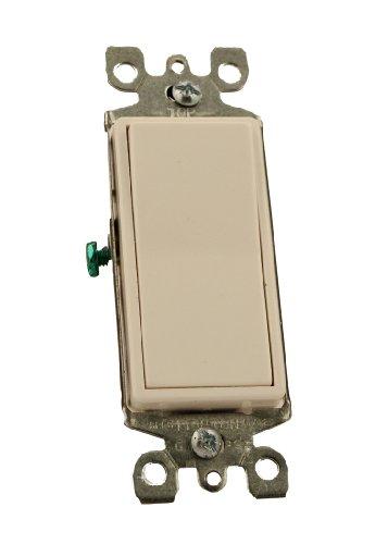 15 Amp 120/277 Volt, Decora Rocker Lighted Handle, Illuminated Off 3-Way AC Quiet Switch, Residential Grade, Grounding, White/Ivory/Light Almond, 5613-2