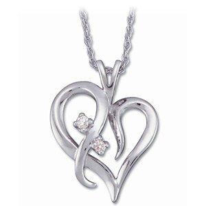 Genuine IceCarats Designer Jewelry Gift 14K White Gold Diamond Heart Pendant W/Chain