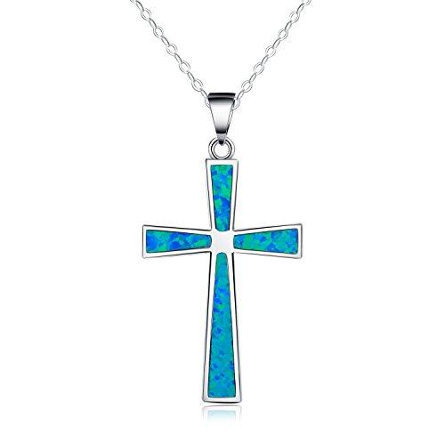 collar-con-colgante-de-mujer-18-forma-de-cruz-opalo-azul-sintetico-plata-esterlina-925