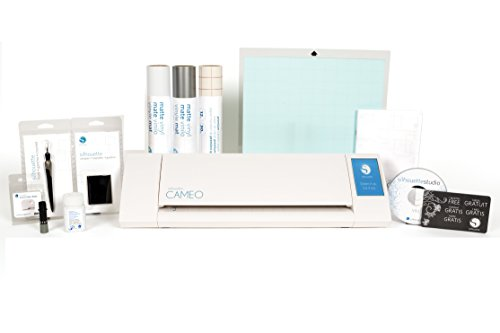 Silhouette Cameo II Machine + Large Starter Bundle, 2 Vinyl Rolls, Transfer Paper, Glass Etching Cream, Tools, More - $349.99 Value