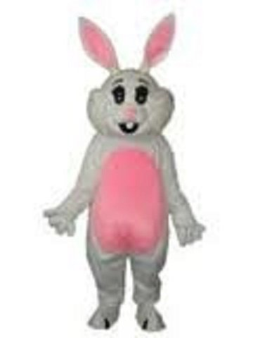 Pink Ear Easter Bunny Adult Mascot Costume