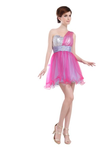 31ZDBkLzPTL Buy: Topwedding two tone Tulle One Shoulder Strap Sequined Graduation Dress
