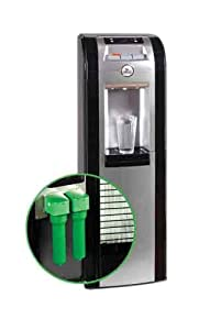 Oasis MIR311D-2 BLK Black and Silver Mirage Bottom Bottle Load Water Cooler with Option to Convert to Bottleless Cooler