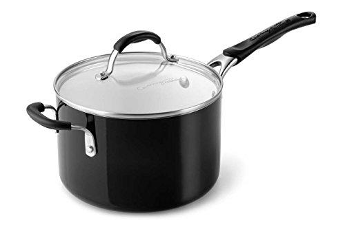 Calphalon Ceramic Nonstick Cookware Sauce Pan, 4 qt., Black (Ceramic Nonstick Sauce Pan compare prices)