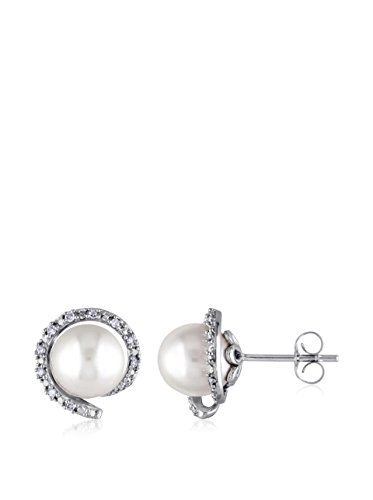 Michiko 10K white Gold Earrings with 1/10Ct Tdw Accent Diamonds and 8 - 8.5 mm white Freshwater Pearls (Gh I2;I3)
