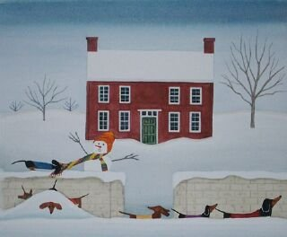 12-Christmas-cards-Dachshund-family-takes-a-holiday-walk-Lynch-folk-art