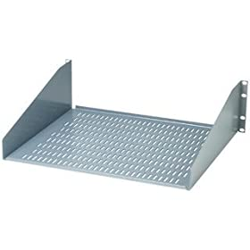 "BUD Industries SA-1753-BT Steel Ventilated Open Rack Equipment Shelf, 17-39/64"" Width x 5-13/64"" Height x 20"" Depth, Black Texture Finish, for 19"" Panel Width Rack"