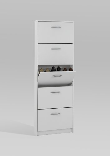 PREMIUM Compact 5 Compartment Shoe Rack Storage Cabinet Unit in White Finish by DMF