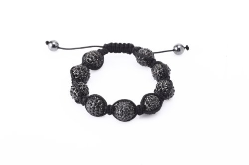 Fashion Nine 12mm Fired Clay Bead with Hand Set Black Czech Crystals Shamballa Adjustable Bracelet