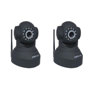 2 Pack - Foscam FI8918W Wireless/Wired Pan & Tilt IP Camera with 8 Meter Night Vision and 67? Viewing Angle - Black.