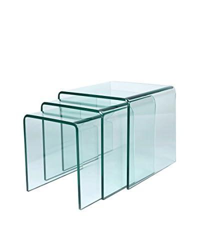 Lo+deModa Set Mesa De Centro 3 Unidades Glass Coffee Transparente