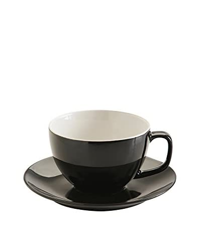 Price & Kensington 15-Oz. Large Cup & Saucer, Black
