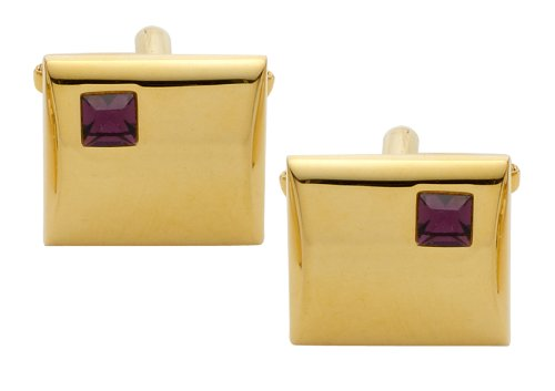 Code Red Gold Plated Cufflinks with 'Amethyst' Stones