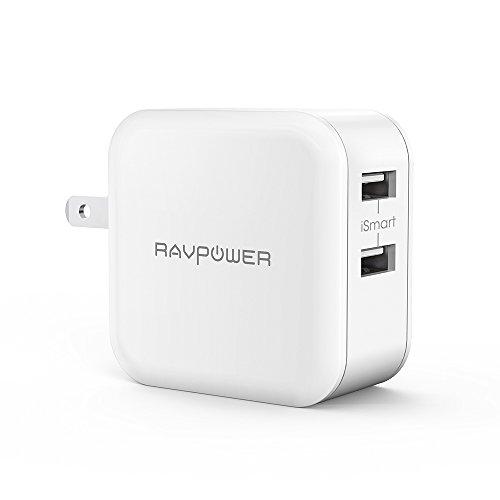 usb充電器 RAVPower 24W 2ポート iPhone iPad スマホ タブレット モバイルバッテリー 等対応 ac アダプタ 急速充電 チャージャー (ホワイト)