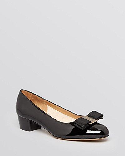Salvatore Ferragamo Women's Black Nero Patent Leather Vara Pumps (9)