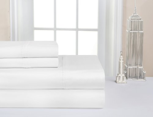 Pointehaven 400 Tc Deep Pocket 100-Percent Pima Cotton Sheet Set, White, Queen