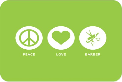 Rikki Knight Peace Love Hair Dresser Glass Cutting Board, Large, Lime Green front-635606