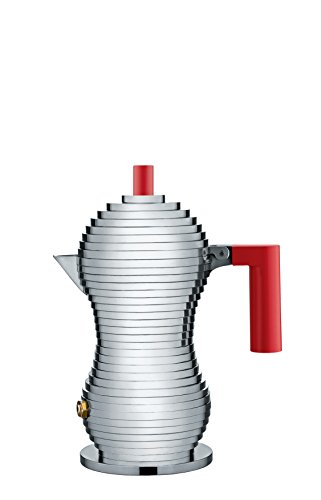 "Alessi MDL02/1 R ""Pulcina"" Stove Top Espresso 1 Cup Coffee Maker in Aluminum Casting Handle And Knob in Pa, Red"