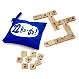 22 Ku-Du Fun Math Tile Game in Blue Travel Pouch