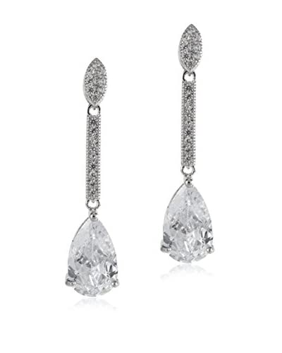 CZ by Kenneth Jay Lane Pave CZ Bar Drop Earrings