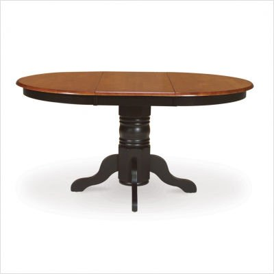 Madison Park Pedestal Dining Table with Butterfly Leaf Extension in Black/Cherry