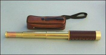 10-30X30 Zoom Brass/Leather-Sheathed Nautical Spyglass Telescope W/ Case