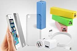Maxxlite iPhone 5/5s Combo includes USB Power Adapter, 3-in-1 USB Data/Sync Cable, Transparent Soft Back Cover, Screen Guard & 2600mAh Perfume Power Bank - White