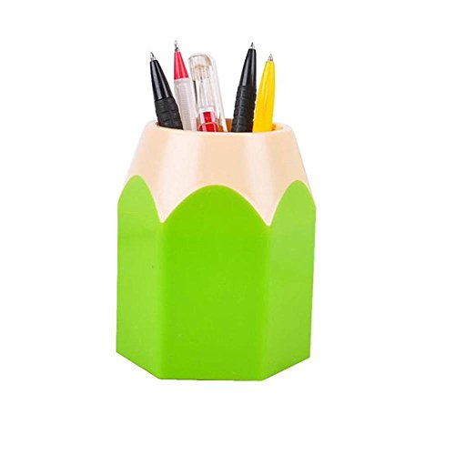 EKIMI Pen Holder Makeup Brush Vase Pencil Pot Pen Holder Stationery Storage (Green)