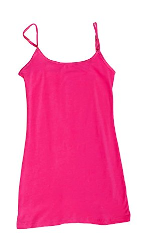Plain Long Spaghetti Strap Tank Top Camis Basic Camisole Cotton (Large, Hot Pink) (Hot Pink Long Tank Top compare prices)