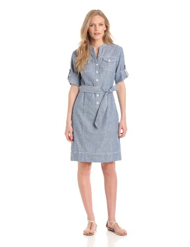 Jones New York Women's Pocketed Shirt Dress, Summer Chambray, Large