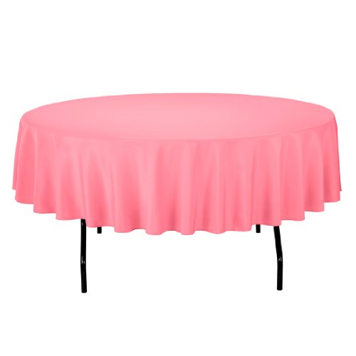 Linentablecloth Round Polyester Tablecloth, 90-Inch, Coral front-586422