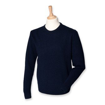 Henbury H735 Mens Lambswool Crew Neck Jumper Navy XL