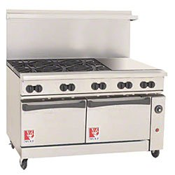Wolf C60-Ss-6B-24Gt-N 60€ Gas Open Burner/Griddle Top Restaurant Range - Challenger Xl Serie