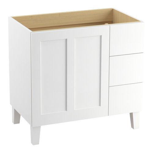 Kohler K-99533-Lgr-1Wa Poplin 36-Inch Vanity With Furniture Legs, 1 Door And 3 Drawers On Right, Linen White front-607441