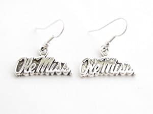 Buy Mississippi Rebels Ole Miss Silver Fashion French Hook Earrings by Sports Accessory Store