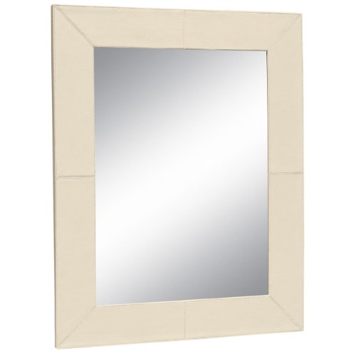 Large Cream Faux Leather Mirror
