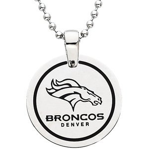 Stainless Steel and Black Laser Denver Broncos Round Pendant Necklace