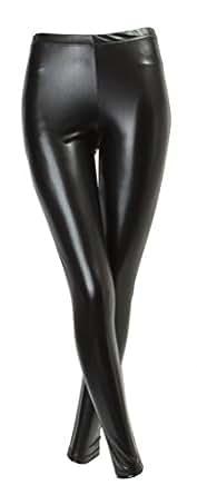ililily Faux Leather Leggings Liquid Metallic & Matte Full length Stretch Skinny Pants (leggings-010-1)