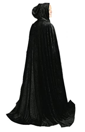 Little Adventures Deluxe Black Adult Cloak with Hood (One Size)
