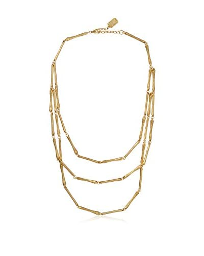 Karine Sultan Matte Gold Necklace Featuring Three Layers of Thin Stick-Like Chain As You See