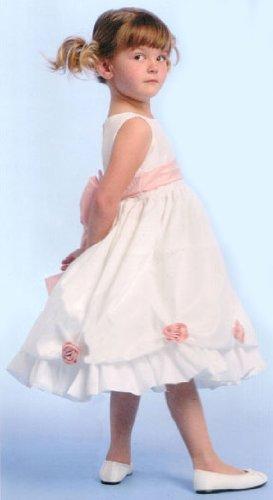 White Sleeveless Taffeta Flower Girl Dress - Customize Colors! Size 8 - (Child)