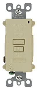 Leviton 7590-I 20 Amp 120 Volt, SmartlockPro Blank Face GFCI, with Dual Function Indicator Light, Ivory