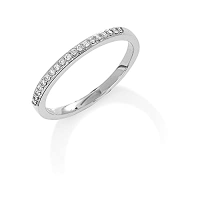 Jewelco London 9ct White Gold - Diamond - 0.08ct Half Eternity Ring -