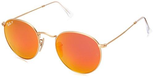 Ray-Ban Unisex Sonnenbrille Round Metal, Einfarbig, Gr. Medium (Herstellergröße: 50), Mehrfarbig (Gold/Rot Polarised 112/4D)