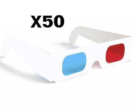 Mercurymall® Lunettes 3D Anaglyphe 3D rouge/cyan bleu papier carte 3-D lunettes anaglyphes Blanche (50 pcs)