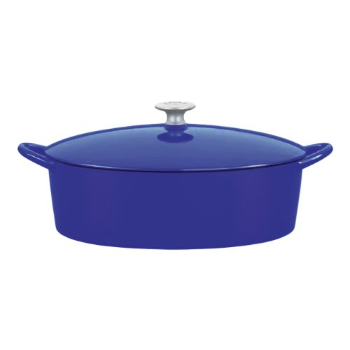 Mario Batali 826811 Enameled Cast Iron Oval Dutch Oven, 6-Quart, Cobalt
