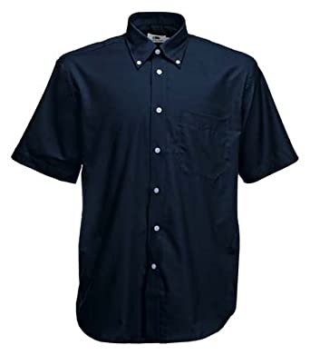 Fruite of the Loom Herren Kurzarm Oxford Hemd, vers.Farben S,Navy Blau