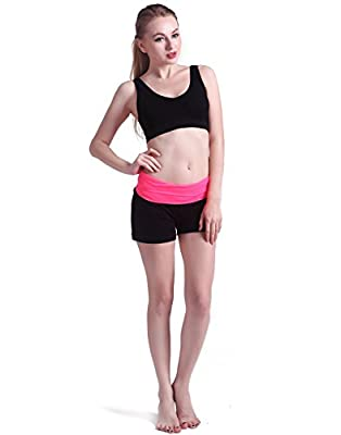 HDE Women's Contrast Foldover Band Yoga Workout Shorts