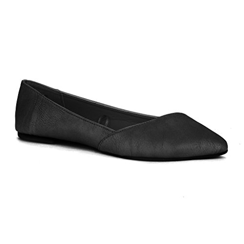 Twisted Womens LINDSAY Slanted Front Almond Toe Flat - BLACK, Size 10